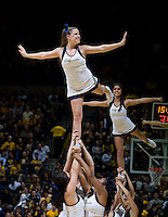 CAL cheerleaders perform on the court during a TV timeout during the game between California and Stanford at Haas Paviliion in Berkeley, California on March 6th, 2013.  Stanford defeated California, 83-70.