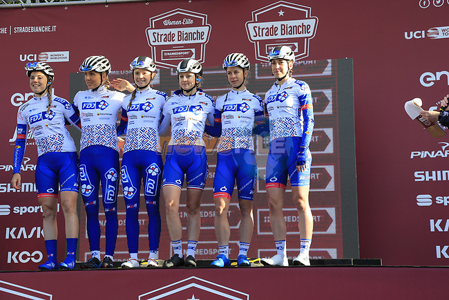 FDJ Nouvelle-Aquitaine Futuroscope at sign on before the Strade Bianche Women Elite 2019 running 133km from Siena to Siena, held over the white gravel roads of Tuscany, Italy. 9th March 2019.<br /> Picture: Eoin Clarke | Cyclefile<br /> <br /> <br /> All photos usage must carry mandatory copyright credit (© Cyclefile | Eoin Clarke)