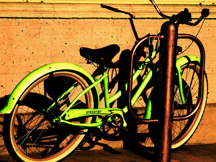 A green bicycle