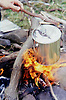 Billy Tea Can, Boiling Hot Water over Flame.