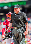 16 August 2017: MLB Umpire Gerry Davis works home plate during a game between the Washington Nationals and the Los Angeles Angels at Nationals Park in Washington, DC. The Angels defeated the Nationals 3-2 to split their 2-game series. Mandatory Credit: Ed Wolfstein Photo *** RAW (NEF) Image File Available ***