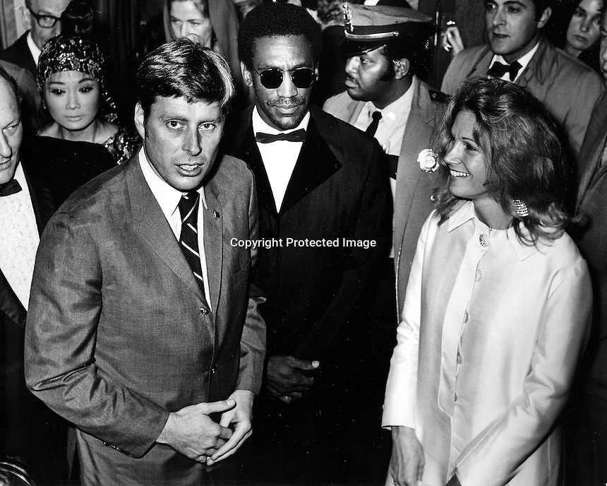 San Francisco galla event celebrities, California Senator John Tunney, Bill Cosby and actress Yvette Mimieux. (photo 1970  by Ron Riesterer)
