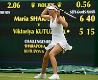 Maria Sharapova (RUS) (24) against Viktoriya Kutuzova (UKR) in the first round of the Ladies SIngles. Sharapova beat Kutuzova 7-5 6-4  ..Tennis - Wimbledon - Day 1 - Mon 22nd June 2009 - All England Lawn Tennis Club  - Wimbledon - London - United Kingdom..Frey Images, Barry House, 20-22 Worple Road, London, SW19 4DH.Tel - +44 20 8947 0100.Cell - +44 7843 383 012..