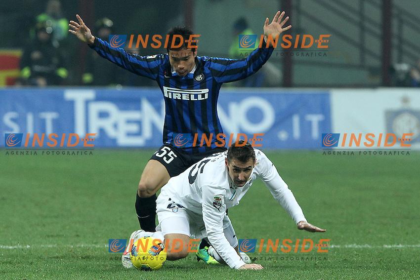 """Yuto Nagatomo Inter Miroslav Klose Lazio.Milano 22/01/2012 Stadio """"S.Siro"""".Football / Calcio Serie A 2011/2012.Inter vs Lazio.Foto Insidefoto Paolo Nucci"""