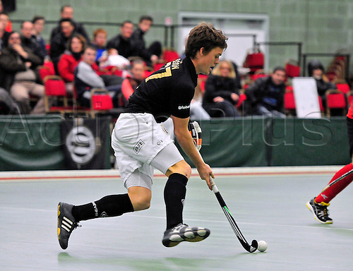 19.02.2012  EuroHockey Indoor Club Trophy, Engage Sports Centre, Napier University, Edinburgh..Finals Day 3. Tournament top scorer Tom Boon, of Racing Club Bruxelles (BEL) in action against AD Lousada (POR)