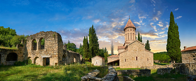 Pictures & images of (left) the ruins of the refectory of the Academy of Ikalto and (right) the Church of the Transfiguration of Ikalto monastery was founded by Saint Zenon, one of the 13 Syrian Fathers, in the late 6th century. Near Telavi, Kakheti, Eastern Georgia (Country).<br /> <br /> The Ikalto Monastery is famous for the Academy of Ikalto founded in the reign of King David the Builder by Arsen Ikaltoeli. The Academy of Ikalto trained its students in classical diciplins of rhetoric, astronomy, philosophy, geography, geometry as well as learning the skills of chantings, pottery and poetry. In the 12th century the Georgian poet Shota Rustaveli studied here.