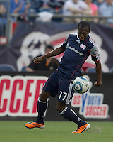 New England Revolution midfielder Sainey Nyassi (17) traps the ball. In a Major League Soccer (MLS) match, the New England Revolution tied the Chicago Fire, 1-1, at Gillette Stadium on June 18, 2011.
