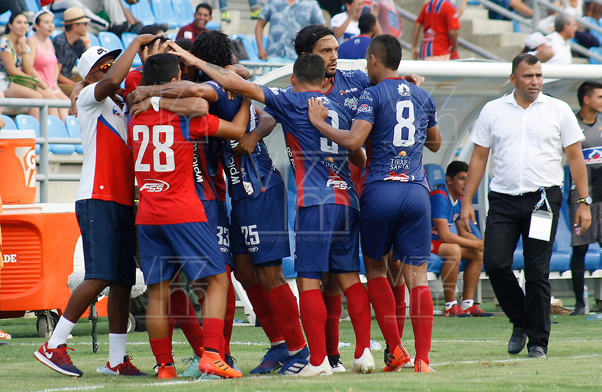 SANTA MARTA - COLOMBIA, 31-05-2019: Jugadores de Union celebran después de anotar el primer gol de su equipo durante el partido por la fecha 5, cuadrangulares semifinales, de la Liga Águila I 2019 entre Unión Magdalena y Millonarios jugado en el estadio Sierra Nevada de la ciudad de Santa Marta. / Players of Union celebrate after scoring the first goal of their team during match for the date 5 of the semifinal quadrangular as part Aguila League I 2019 between Union Magdalena and Millonarios played at Sierra Nevada stadium in Santa Marta city. Photo: VizzorImage / Gustavo Pacheco / Cont