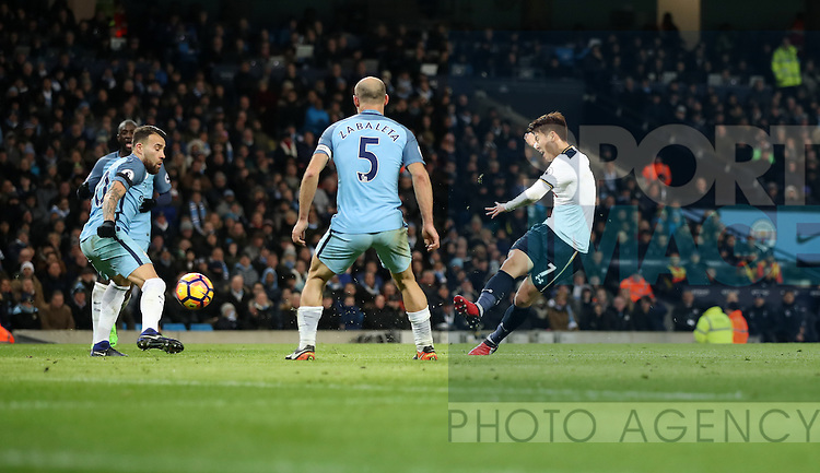 Son Heung-Min of Tottenham Hotspur scoring during the Premier League match at Etihad Stadium, Manchester. Picture date: January 21st, 2017.Photo credit should read: Lynne Cameron/Sportimage
