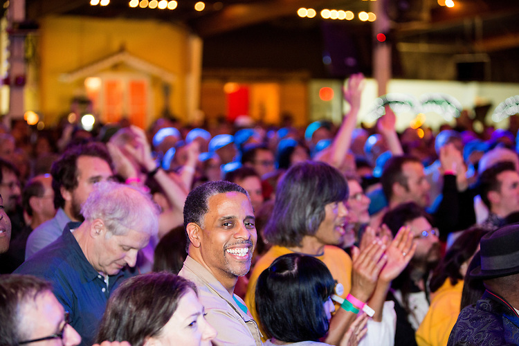 The audience enjoys the show performs at the Ponderosa Stomp in New Orleans on October 3, 2015.