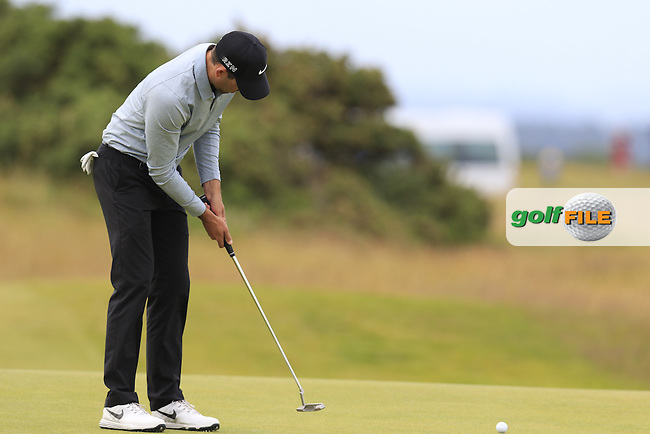 Charl Schwartzel (RSA) putts on the 14th green during Sunday's Round 3 of the 144th Open Championship, St Andrews Old Course, St Andrews, Fife, Scotland. 19/07/2015.<br /> Picture Eoin Clarke, www.golffile.ie