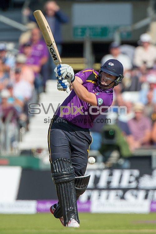 Picture by Alex Whitehead/SWpix.com - 06/09/2015 - Cricket - Royal London One-Day Cup, Semi-Final - Yorkshire CCC v Gloucestershire CCC - Headingley Cricket Ground, Leeds, England - Yorkshire's Alex Lees hits out.