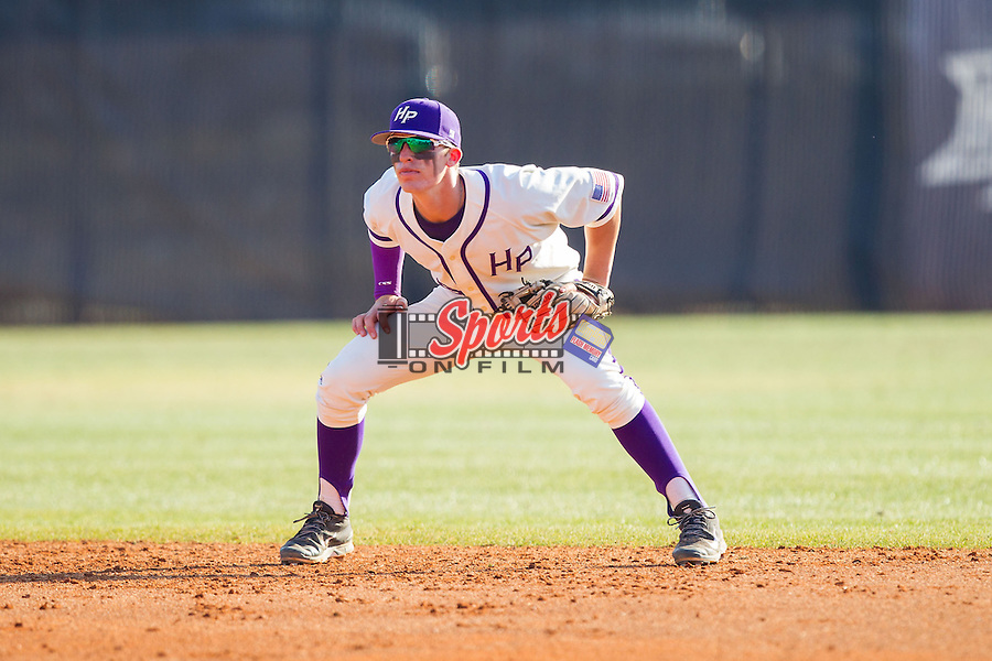 High Point Panthers second baseman Chris Clare (9) on defense against the Bowling Green Falcons at Willard Stadium on March 9, 2014 in High Point, North Carolina.  The Falcons defeated the Panthers 7-4.  (Brian Westerholt/Sports On Film)