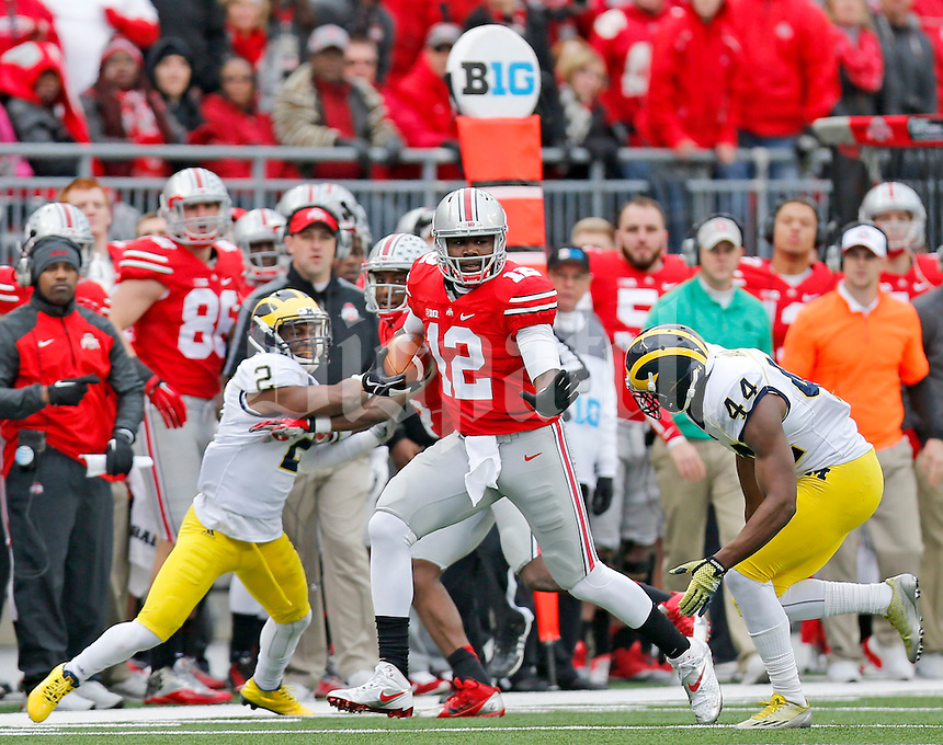 Ohio State Buckeyes quarterback Cardale Jones (12) during the fourth quarter of the NCAA football game against Michigan at Ohio Stadium on Saturday, November 29, 2014. (Columbus Dispatch photo by Jonathan Quilter)