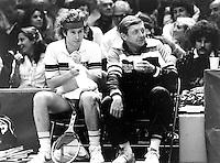 1981, John McEnroe met coach tijdens de wissel