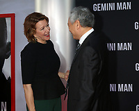 """LOS ANGELES - OCT 6:  Linda Emond, Ang Lee at the """"Gemini"""" Premiere at the TCL Chinese Theater IMAX on October 6, 2019 in Los Angeles, CA"""