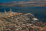 Aerial over the PG&E power plant and  marina, Pittsburg, California