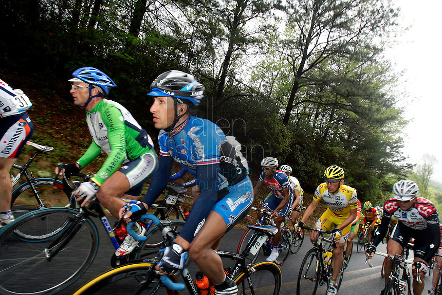 Oleg Grishkine (#76), of the Navigators Insurance Team, rides in the pack during Stage 5 of the Ford Tour de Georgia. Tom Danielson, of the Discovery Channel Pro Cycling Team, won the 94.5-mile (152.1-km) stage from Blairsville to the top of Brasstown Bald, the highest point in the state.<br />