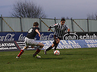 Ross Meechan cuts inside Ryan Blair at the Falkirk v St Mirren  Scottish Football Association Youth Cup 4th Round match played at the Falkirk Stadium, Falkirk on 16.12.12.