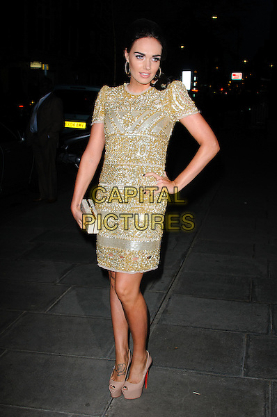 Tamara Ecclestone.The Rodial Beautiful Awards 2012, held at the Sanderson - Arrivals .London, England..March 6th, 2012.full length gold beads beaded dress hand on hip clutch bag .CAP/CJ.©Chris Joseph/Capital Pictures.