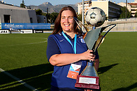England's 'Chef de Delegation' Kirsty Cavanagh celebrates with the Tournoi Maurice Revello Trophy after England's historic penalty shoot-out victory during England Under-18 vs Ivory Coast Under-20, Toulon Tournament Final Football at Stade de Lattre-de-Tassigny on 10th June 2017