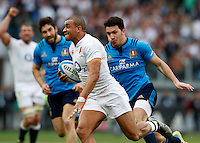 Rugby, Torneo delle Sei Nazioni: Italia vs Inghilterra. Roma, 14 febbraio 2016.<br /> England&rsquo;s Jonathan Joseph runs on his way to score a try during the Six Nations rugby union international match between Italy and England at Rome's Olympic stadium, 14 February 2016.<br /> UPDATE IMAGES PRESS/Riccardo De Luca