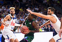 Real Madrid's player Jeffery Taylor and Felipe Reyes and Unicaja Malaga's player Oliver Lafayette during match of Liga Endesa at Barclaycard Center in Madrid. September 30, Spain. 2016. (ALTERPHOTOS/BorjaB.Hojas) /NORTEPHOTO