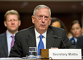 "United States Secretary of Defense James N. Mattis gives testimony before the US Senate Committee on Armed Services on ""the Department of Defense budget posture in review of the Defense Authorization Request for Fiscal Year 2018 and the Future Years Defense Program"" on Capitol Hill in Washington, DC on Tuesday, June 13, 2017.<br /> Credit: Ron Sachs / CNP"