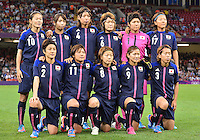 August 03, 2012 - Japan's Women's National Football Team poses for a group photograph before Group F match between JPN and BRA at the Millennium Stadium. .