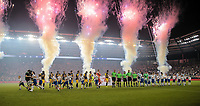 Kansas City, KS - Wednesday September 20, 2017: Starting lineups of New York Red Bulls and Sporting KC during the 2017 U.S. Open Cup Final Championship game between Sporting Kansas City and the New York Red Bulls at Children's Mercy Park.