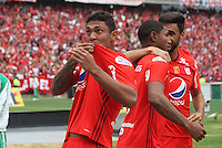 BOGOTA -COLOMBIA, 19-02-2017. Eder Castañeda player of America de Cali celebrates his goal against Equidad.Action game between  La Equidad and America de Cali during match for the date 4 of the Aguila League I 2017 played at Ne stadium . Photo:VizzorImage / Felipe Caicedo  / Staff