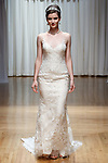 Model walks runway in a Marley gown from the Casablanca Bridal collection at the Casablanca Bridal 20th anniversary celebration runway show, on October 8, 2017; during New York Bridal Fashion Week Spring 2018.