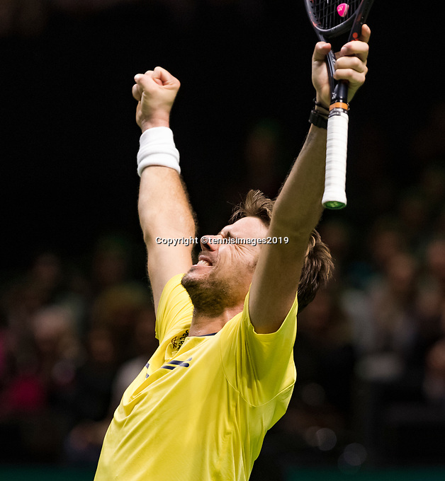 Rotterdam, The Netherlands, 16 Februari 2019, ABNAMRO World Tennis Tournament, Ahoy, Semis, Stan Wawrinka (SUI) winner,<br /> Photo: www.tennisimages.com/Henk Koster