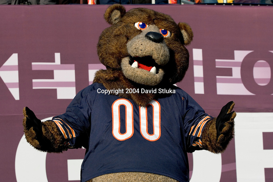 Chicago Bears mascot Staley Da Bear during an NFL football game against the Indianapolis Colts at Soldier Field on November 21, 2004 in Chicago, Illinois. The Colts defeated the Bears 41-10. (Photo by David Stluka).