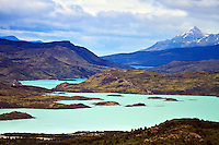 Lago Nordenskjold (foreground), Lago Pehoe (mid left), and Lago Toro (background) as seen from the Valle del Frances (French Valley) in Torres del Paine National Park, Chile.