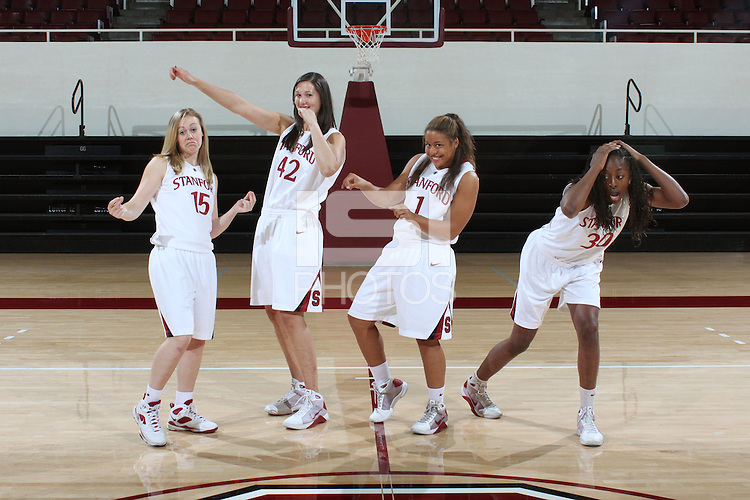 STANFORD, CA - SEPTEMBER 28:  Lindy La Rocque, Sarah Boothe, Grace Mashore, and Nnemkadi Ogwumike during picture day on September 28, 2009 at Maples Pavilion in Stanford, California.
