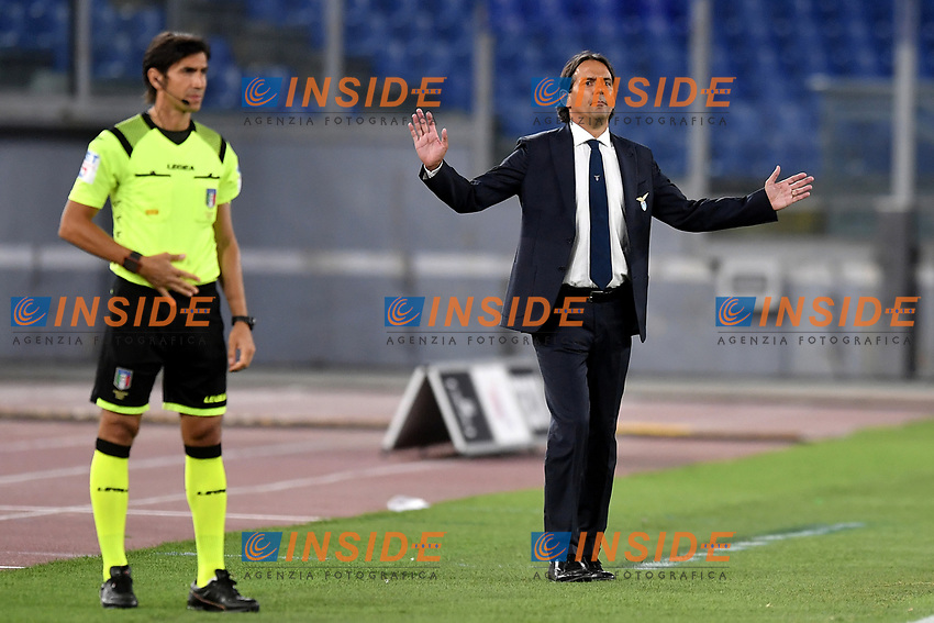 Simone Inzaghi coach of SS Lazio during the Serie A football match between SS Lazio and ACF Fiorentina at stadio Olimpico in Roma ( Italy ), June 27th, 2020. Play resumes behind closed doors following the outbreak of the coronavirus disease. Photo Antonietta Baldassarre / Insidefoto