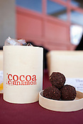 December 3, 2011. Durham, NC.. Pure cocoa balls..  Areli Barrera de Grodski and Leon Grodski de Barrera are the owners of Cocoa Cinnamon, a specialty chocolate shop, as well as bikeCoffee, a bicycle powered mobile coffee shop.