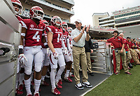 Hawgs Illustrated/BEN GOFF <br /> Chad Morris, Arkansas head coach, leads the team onto the field Saturday, April 6, 2019, during the Arkansas Red-White game at Reynolds Razorback Stadium.
