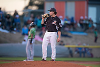 Salem-Keizer Volcanoes starting pitcher Seth Corry (28) during a Northwest League game against the Eugene Emeralds at Volcanoes Stadium on August 31, 2018 in Keizer, Oregon. The Eugene Emeralds defeated the Salem-Keizer Volcanoes by a score of 7-3. (Zachary Lucy/Four Seam Images)