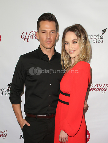"""LOS ANGELES, CA - NOVEMBER 7: Mark Hapka, Kelley Jakle, at Premiere of Lifetime's """"Christmas Harmony"""" at Harmony Gold Theatre in Los Angeles, California on November 7, 2018. Credit: Faye Sadou/MediaPunch"""
