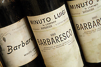 Old bottles of Barbaresco at a wine producer's in Piemonte