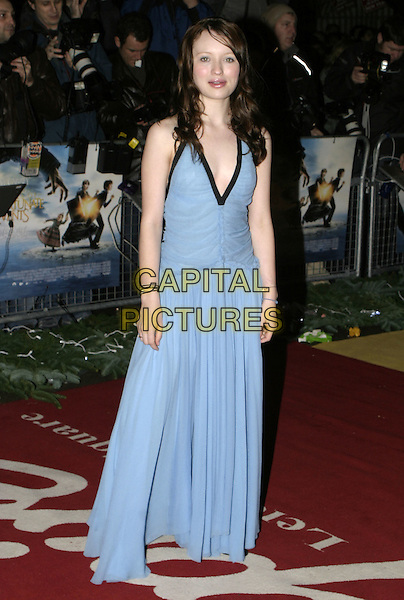"EMILY BROWNING.Lemony Snicket's ""A Series of Unfortunate Events"" film premiere, Empire cinema, Leicester Square,.London, 16th December 2004..full length long blue dress.Ref: AH.www.capitalpictures.com.sales@capitalpictures.com.©Capital Pictures..."
