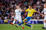Javi Castellano Betancor of UD Las Palmas (R) fights for the ball with Lucas Vazquez of Real Madrid (L) during the La Liga 2017-18 match between Real Madrid and UD Las Palmas at Estadio Santiago Bernabeu on November 05 2017 in Madrid, Spain. Photo by Diego Gonzalez / Power Sport Images
