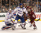 Tyler Wall (UML - 33), Tyler Mueller (UML - 7), Chris Calnan (BC - 11), Austin Cangelosi (BC - 9) The University of Massachusetts-Lowell River Hawks defeated the Boston College Eagles 4-3 to win the 2017 Hockey East tournament at TD Garden on Saturday, March 18, 2017, in Boston, Massachusetts.