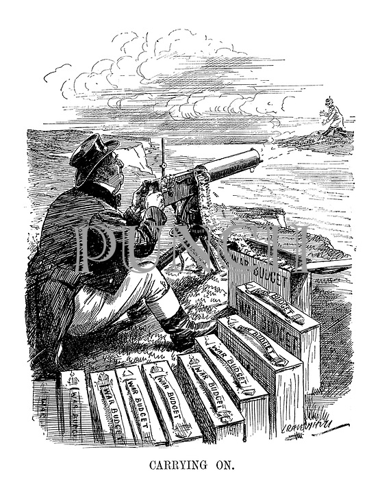 Carrying On. (John Bull fires his machine gun at Germany while fully armed with War Budget ammunition)