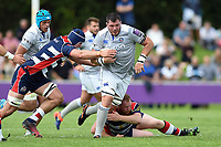 James Phillips of Bath Rugby takes on the Bristol Rugby defence. Pre-season friendly match, between Bristol Rugby and Bath Rugby on August 12, 2017 at the Cribbs Causeway Ground in Bristol, England. Photo by: Patrick Khachfe / Onside Images
