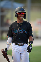 GCL Marlins Nasim Nunez (1) during a Gulf Coast League game against the GCL Astros on August 8, 2019 at the Roger Dean Chevrolet Stadium Complex in Jupiter, Florida.  GCL Marlins defeated GCL Astros 5-4.  (Mike Janes/Four Seam Images)