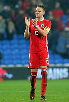 Chris Gunter of Wales applauds home supporters during the international friendly soccer match between Wales and Panama at Cardiff City Stadium, Cardiff, Wales, UK. Tuesday 14 November 2017.