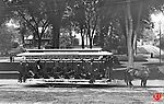 A horse-drawn trolley in Waterbury during the late 1800s.